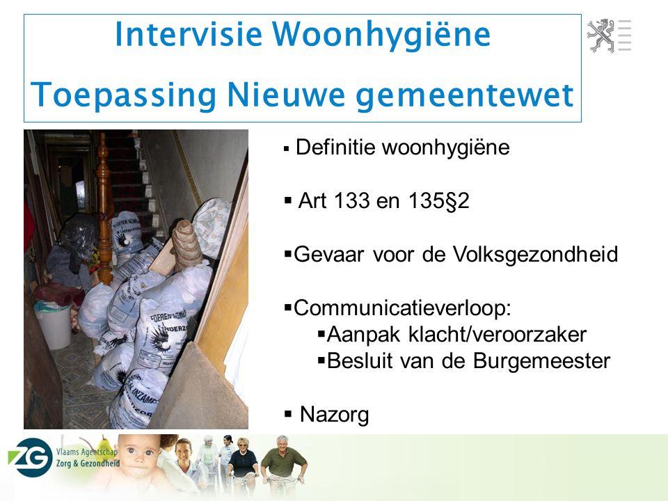 Intervisie Woonhygiëne Toepassing Nieuwe gemeentewet  Definitie woonhygiëne  Art 133 en 135§2  Gevaar voor de Volksgezondheid  Communicatieverloop