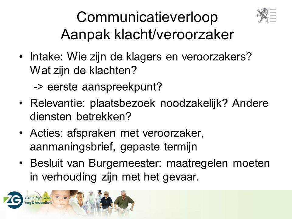 Communicatieverloop Aanpak klacht/veroorzaker •Intake: Wie zijn de klagers en veroorzakers? Wat zijn de klachten? -> eerste aanspreekpunt? •Relevantie