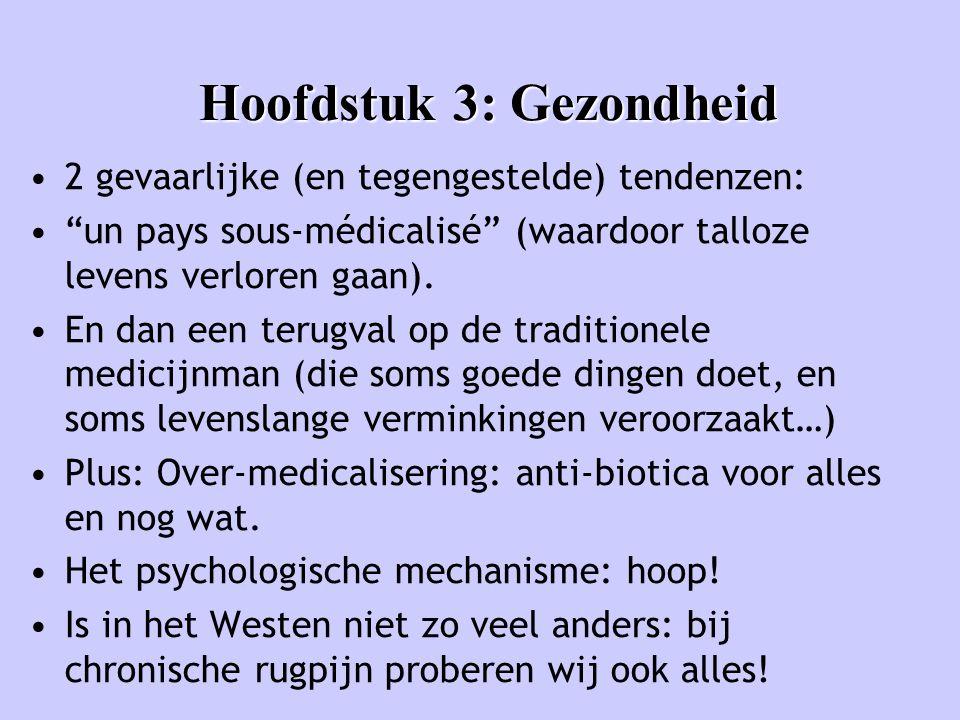 """Hoofdstuk 3: Gezondheid •2 gevaarlijke (en tegengestelde) tendenzen: •""""un pays sous-médicalisé"""" (waardoor talloze levens verloren gaan). •En dan een t"""