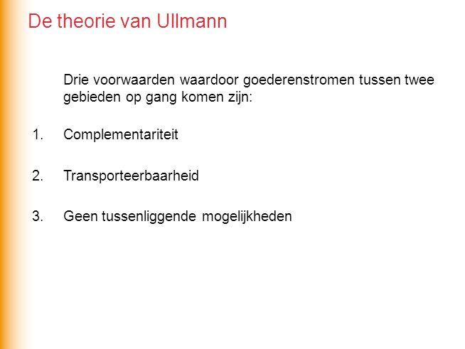 De theorie van Ullmann Drie voorwaarden waardoor goederenstromen tussen twee gebieden op gang komen zijn: 1.Complementariteit 2.Transporteerbaarheid 3.Geen tussenliggende mogelijkheden