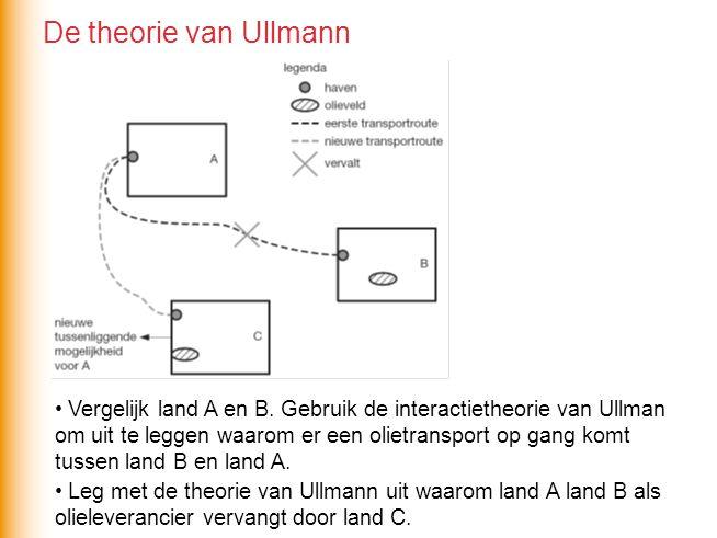• Vergelijk land A en B. Gebruik de interactietheorie van Ullman om uit te leggen waarom er een olietransport op gang komt tussen land B en land A. De