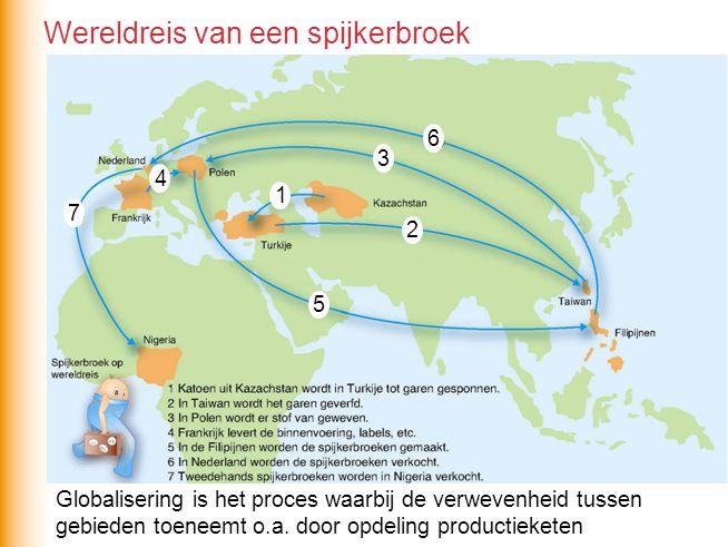 Globalisering is het proces waarbij de verwevenheid tussen gebieden toeneemt o.a. door opdeling productieketen 1 6 5 4 3 2 7 Wereldreis van een spijke