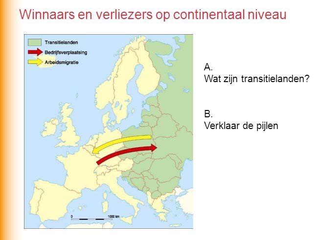A. Wat zijn transitielanden? B. Verklaar de pijlen Winnaars en verliezers op continentaal niveau