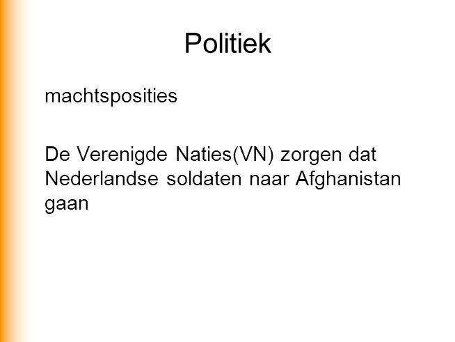 Politiek machtsposities De Verenigde Naties(VN) zorgen dat Nederlandse soldaten naar Afghanistan gaan