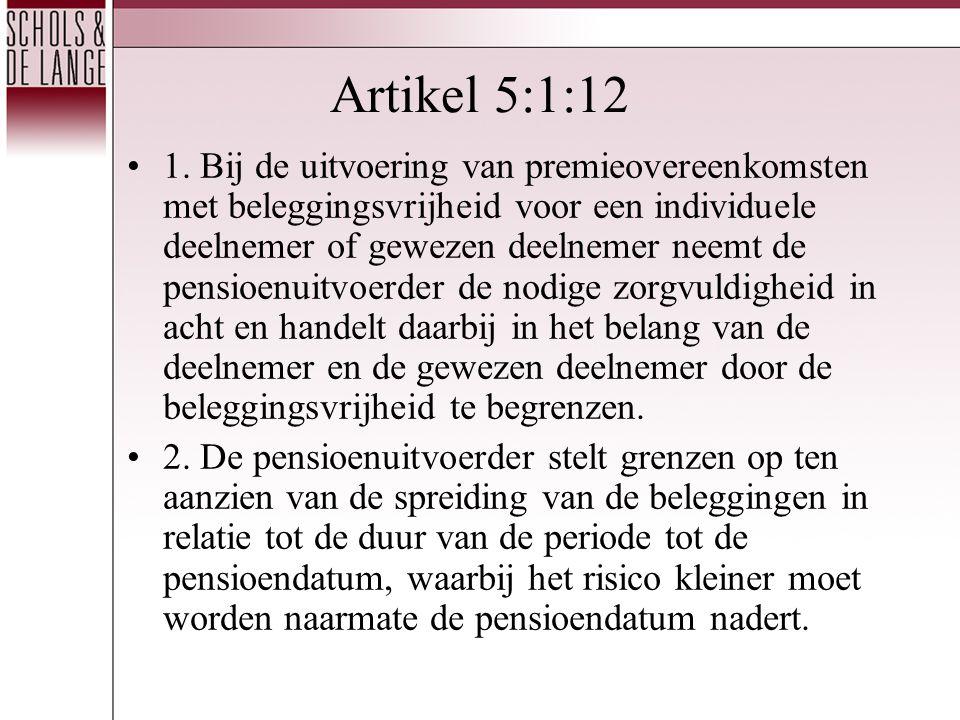 Artikel 5:1:12 •1. Bij de uitvoering van premieovereenkomsten met beleggingsvrijheid voor een individuele deelnemer of gewezen deelnemer neemt de pens