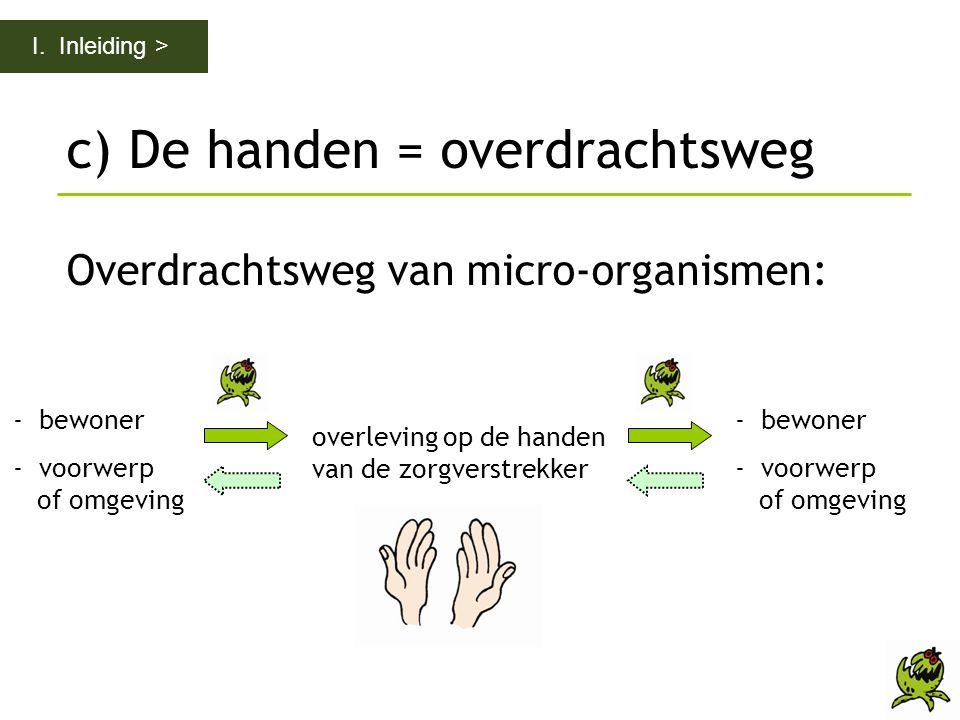 c) De handen = overdrachtsweg Overdrachtsweg van micro-organismen: I. Inleiding > - bewoner - voorwerp of omgeving - bewoner - voorwerp of omgeving ov