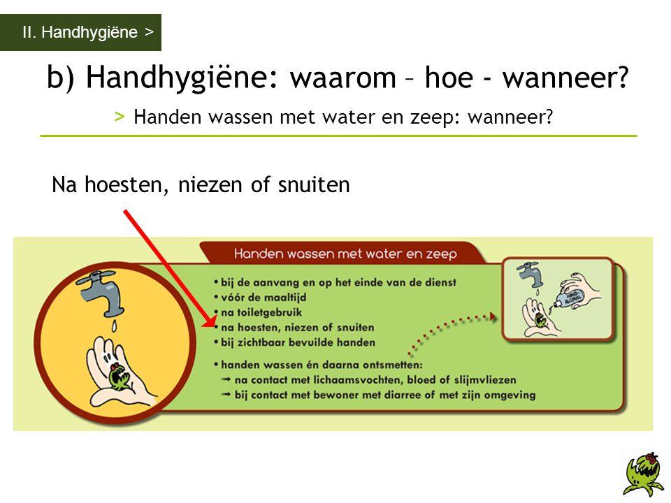 b) Handhygiëne: waarom – hoe - wanneer? > Handen wassen met water en zeep: wanneer? II. Handhygiëne > Na hoesten, niezen of snuiten