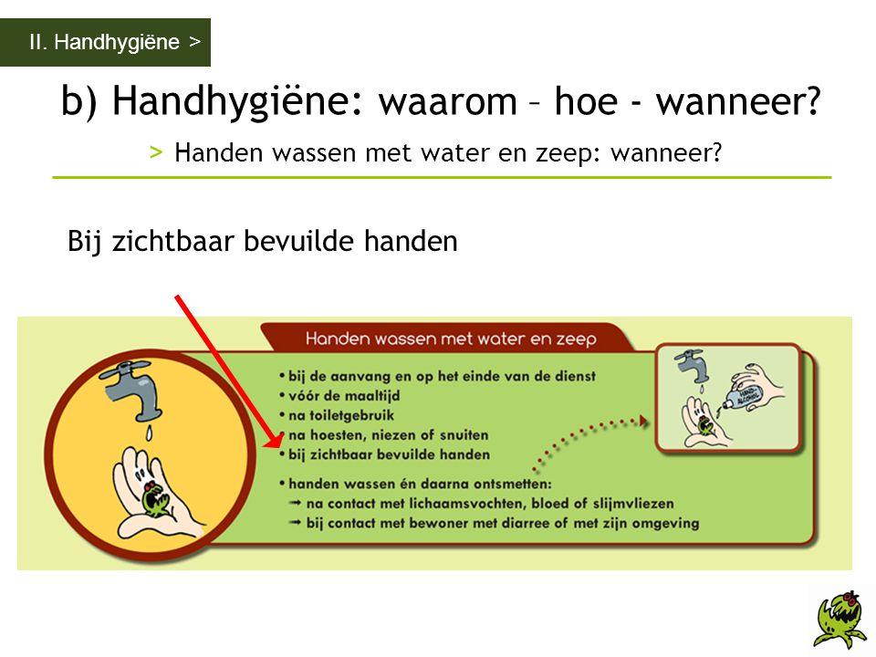 b) Handhygiëne: waarom – hoe - wanneer? > Handen wassen met water en zeep: wanneer? II. Handhygiëne > Bij zichtbaar bevuilde handen