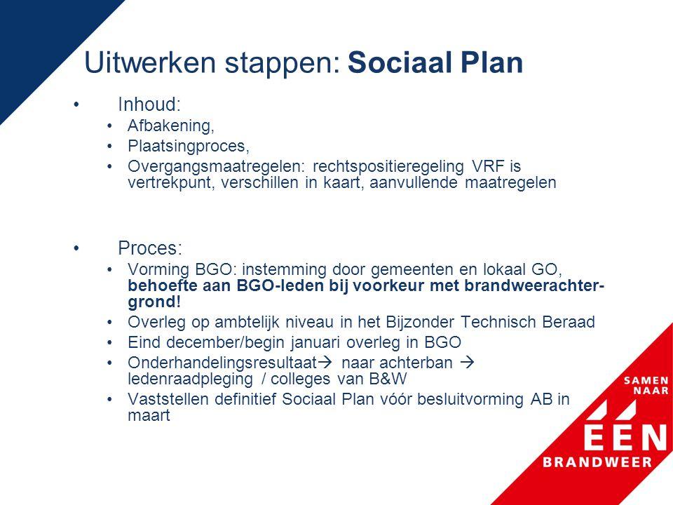 Uitwerken stappen: Sociaal Plan •Inhoud: •Afbakening, •Plaatsingproces, •Overgangsmaatregelen: rechtspositieregeling VRF is vertrekpunt, verschillen i