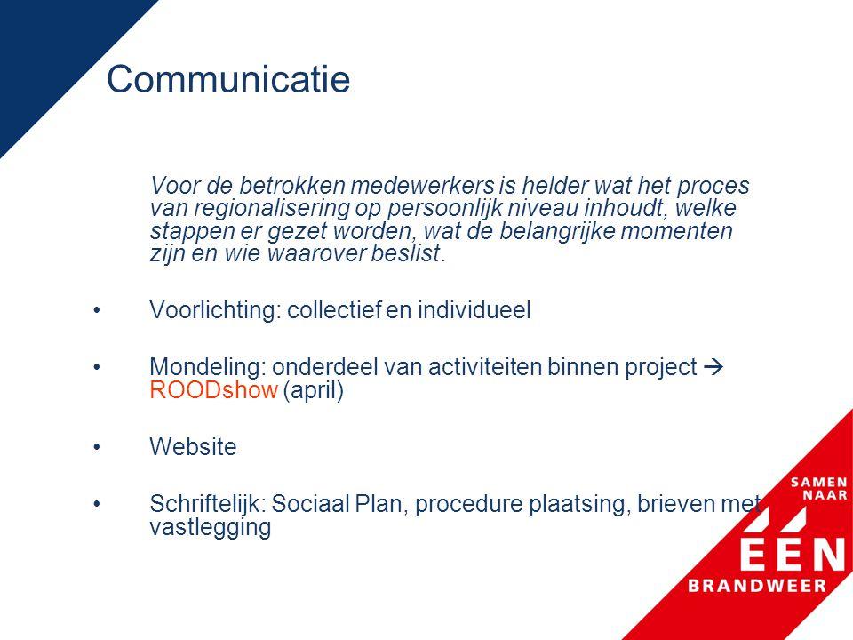 Communicatie Voor de betrokken medewerkers is helder wat het proces van regionalisering op persoonlijk niveau inhoudt, welke stappen er gezet worden,