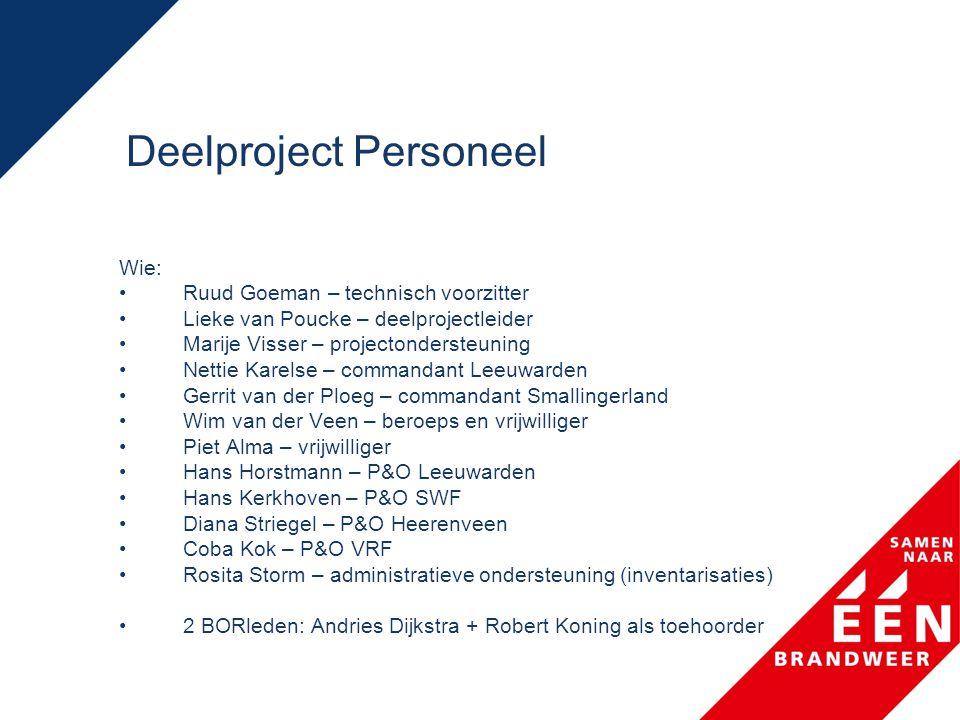 Deelproject Personeel Wie: •Ruud Goeman – technisch voorzitter •Lieke van Poucke – deelprojectleider •Marije Visser – projectondersteuning •Nettie Kar