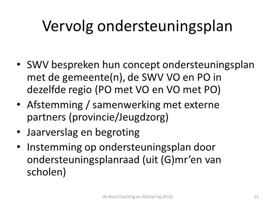 Vervolg ondersteuningsplan • SWV bespreken hun concept ondersteuningsplan met de gemeente(n), de SWV VO en PO in dezelfde regio (PO met VO en VO met P