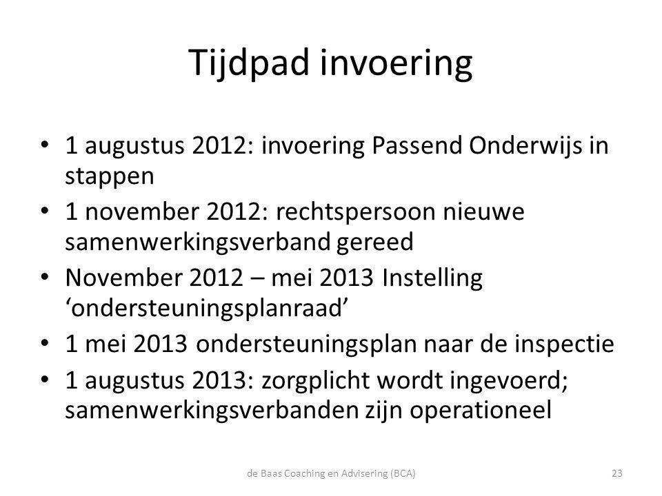 Tijdpad invoering • 1 augustus 2012: invoering Passend Onderwijs in stappen • 1 november 2012: rechtspersoon nieuwe samenwerkingsverband gereed • Nove