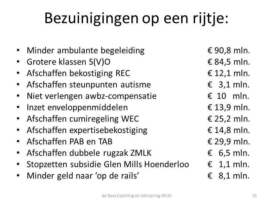 Bezuinigingen op een rijtje: • Minder ambulante begeleiding € 90,8 mln. • Grotere klassen S(V)O € 84,5 mln. • Afschaffen bekostiging REC € 12,1 mln. •