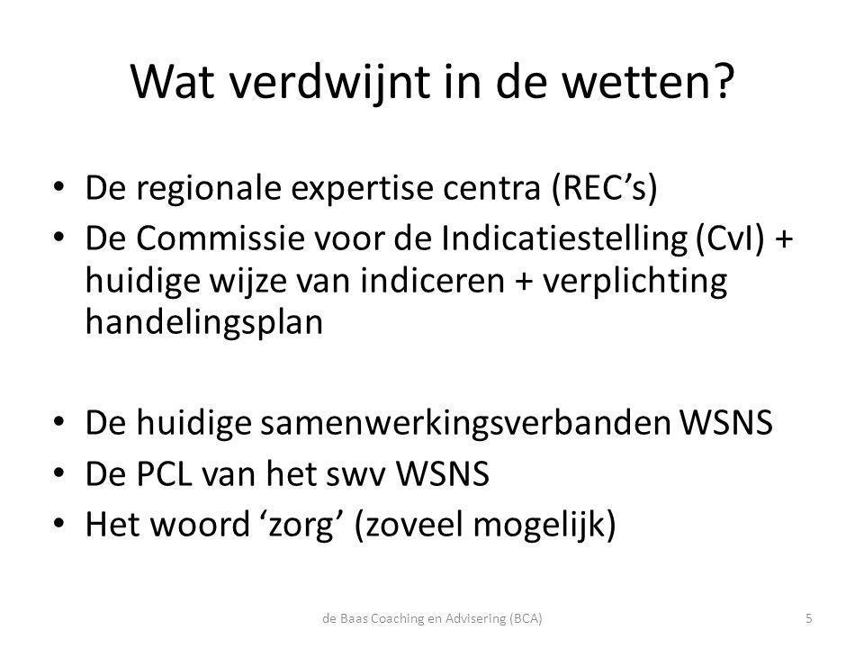 Wat verdwijnt in de wetten? • De regionale expertise centra (REC's) • De Commissie voor de Indicatiestelling (CvI) + huidige wijze van indiceren + ver