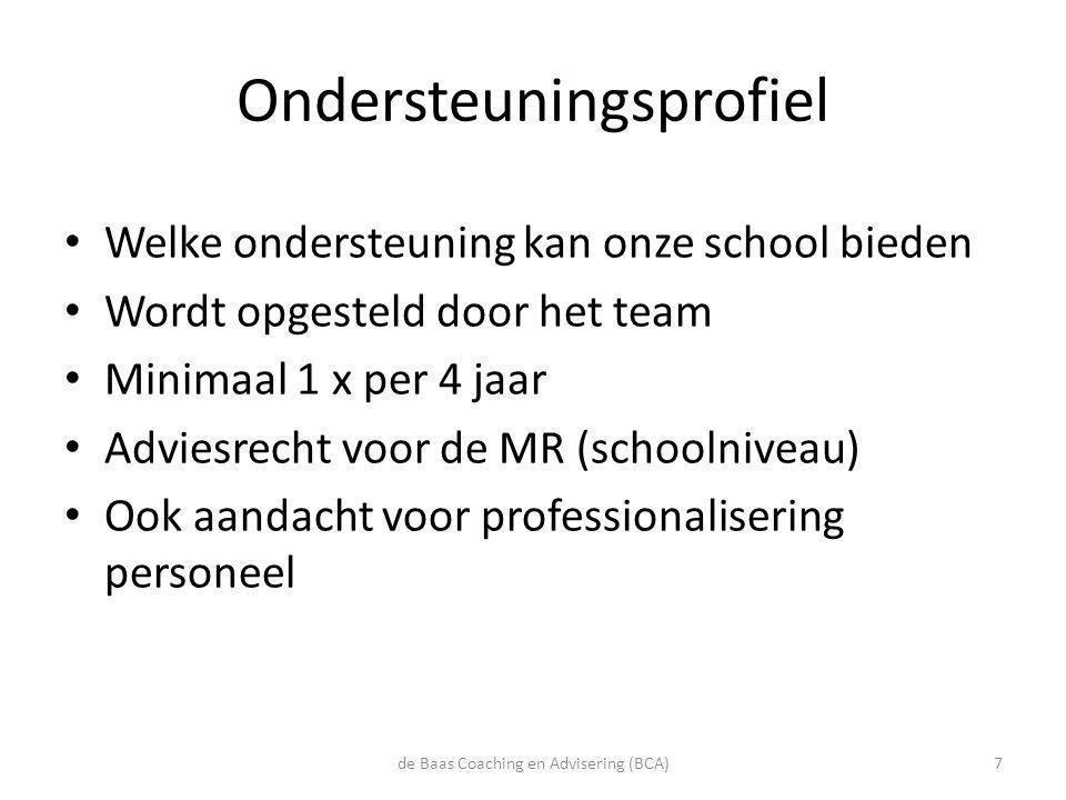 Ondersteuningsprofiel • Welke ondersteuning kan onze school bieden • Wordt opgesteld door het team • Minimaal 1 x per 4 jaar • Adviesrecht voor de MR