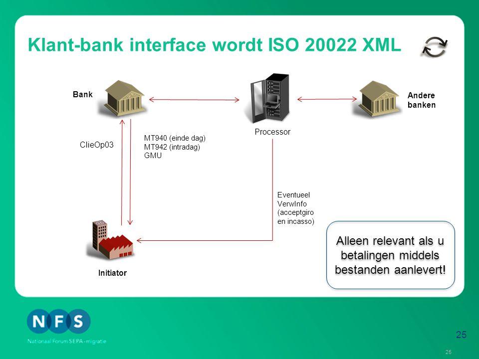 Klant-bank interface wordt ISO 20022 XML Initiator Processor MT940 (einde dag) MT942 (intradag) GMU Bank Andere banken PAIN.001 (SCT) PAIN.008 (SDD) Eventueel VerwInfo (acceptgiro en incasso) ClieOp03 Aangepaste MT940 Aangepaste GMU (met detailinformatie uit vroegere VerwInfo) En in de toekomst:: CAMT.053 (einde dag), CAMT.052 (intradag) 26 Neem tijdig contact op met uw softwareleverancier!