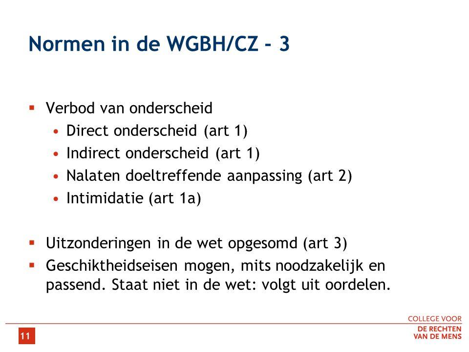 11 Normen in de WGBH/CZ - 3  Verbod van onderscheid •Direct onderscheid (art 1) •Indirect onderscheid (art 1) •Nalaten doeltreffende aanpassing (art