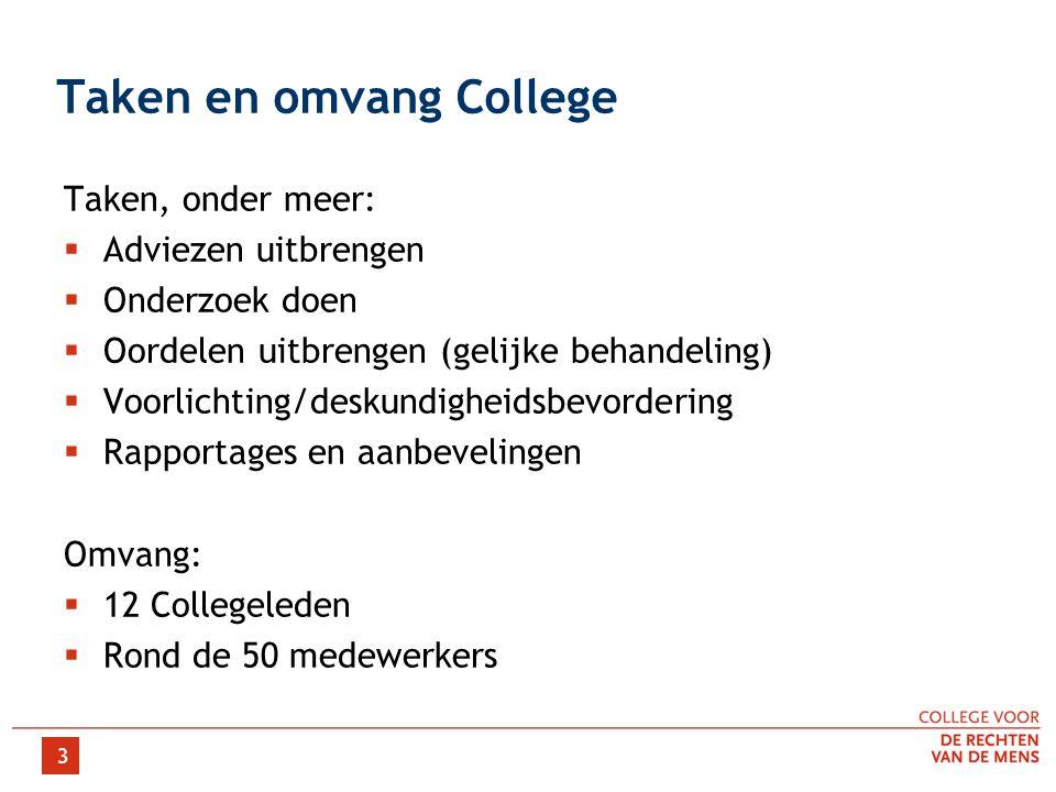 3 Taken en omvang College Taken, onder meer:  Adviezen uitbrengen  Onderzoek doen  Oordelen uitbrengen (gelijke behandeling)  Voorlichting/deskund