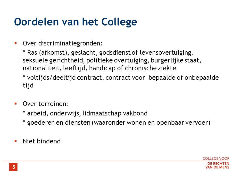 5 Oordelen van het College  Over discriminatiegronden: * Ras (afkomst), geslacht, godsdienst of levensovertuiging, seksuele gerichtheid, politieke ov