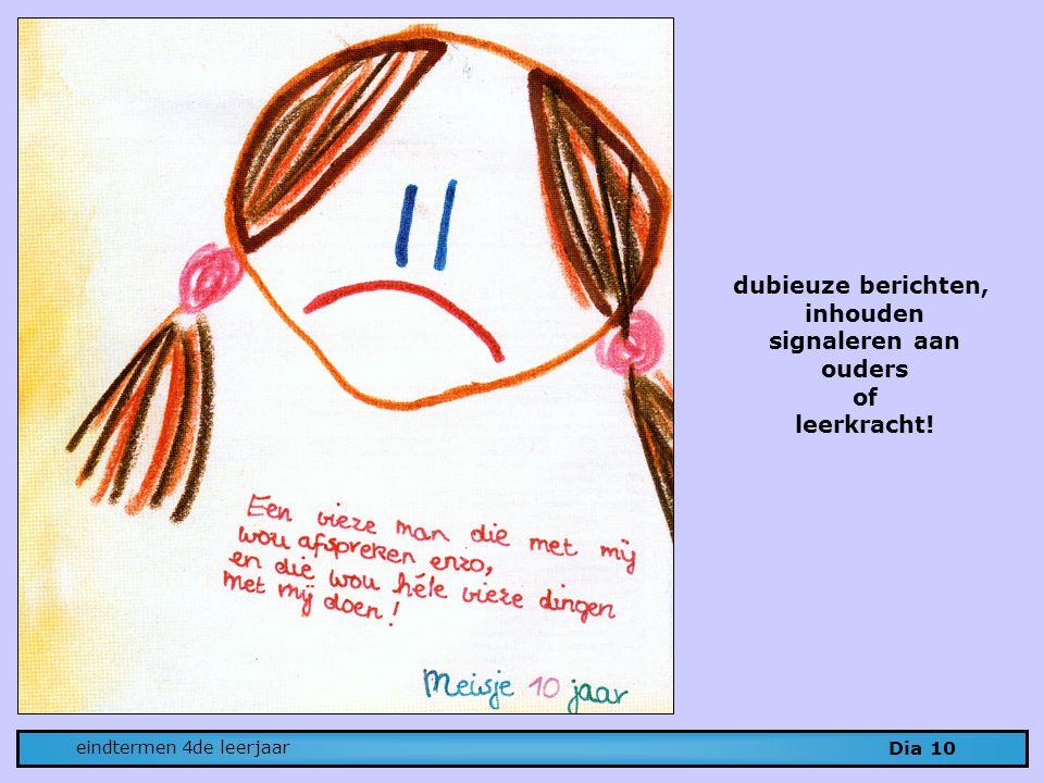 Dia 10 eindtermen 4de leerjaar dubieuze berichten, inhouden signaleren aan ouders of leerkracht!