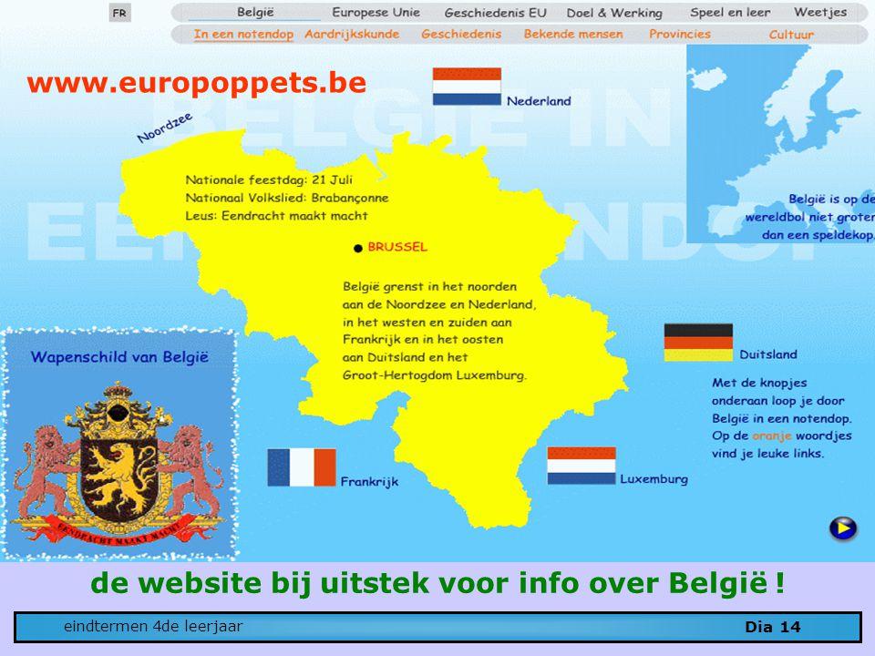 Dia 14 eindtermen 4de leerjaar www.europoppets.be de website bij uitstek voor info over België !