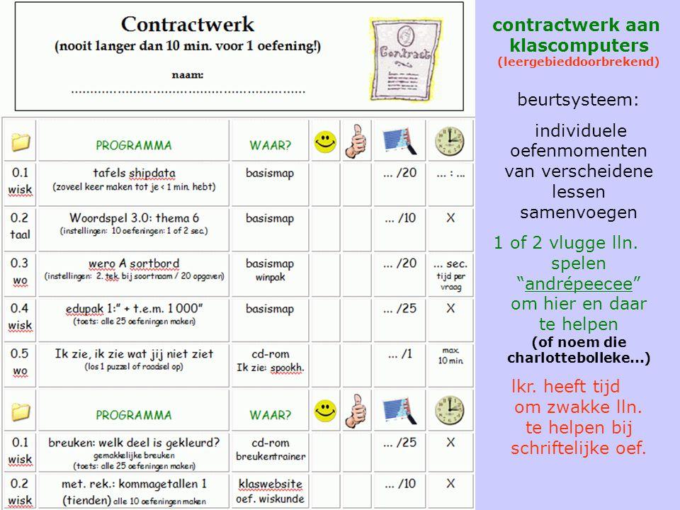 contractwerk contractwerk aan klascomputers (leergebieddoorbrekend) beurtsysteem: individuele oefenmomenten van verscheidene lessen samenvoegen 1 of 2 vlugge lln.