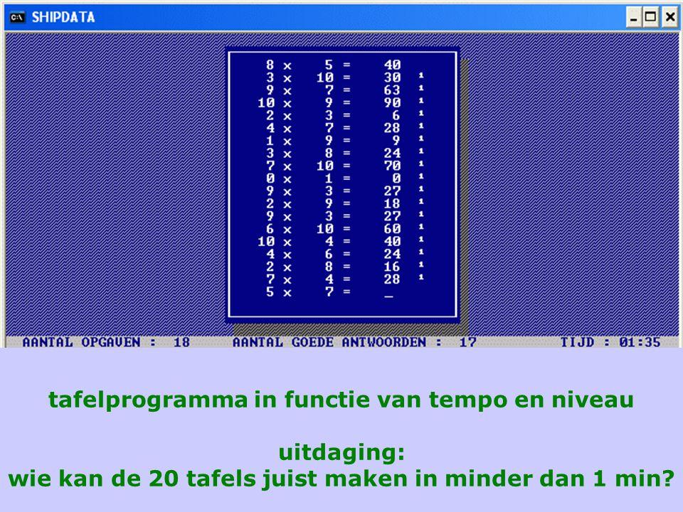 tafelprogramma in functie van tempo en niveau uitdaging: wie kan de 20 tafels juist maken in minder dan 1 min?