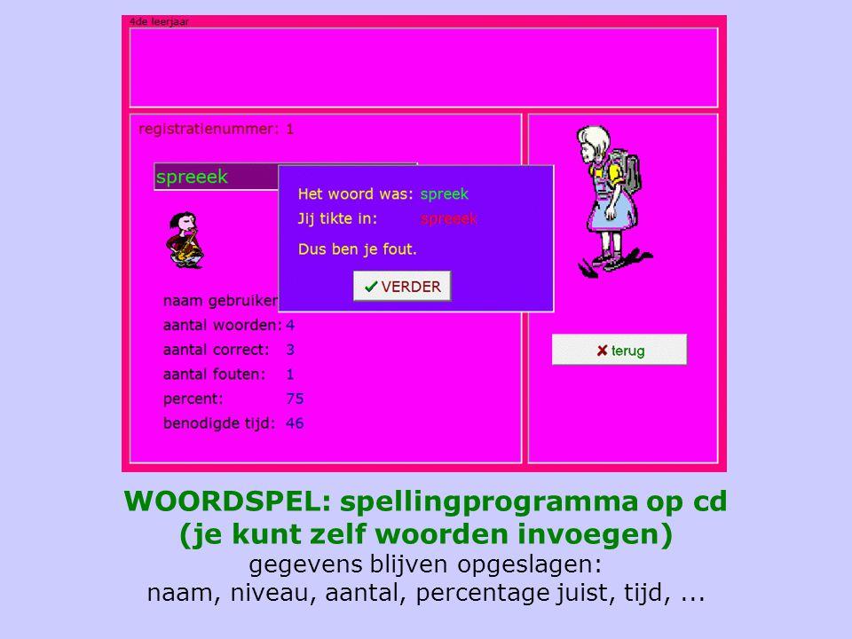 WOORDSPEL: spellingprogramma op cd (je kunt zelf woorden invoegen) gegevens blijven opgeslagen: naam, niveau, aantal, percentage juist, tijd,...