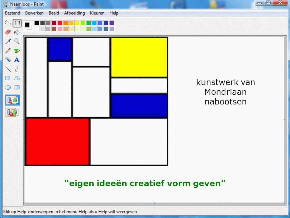 eigen ideeën creatief vorm geven kunstwerk van Mondriaan nabootsen