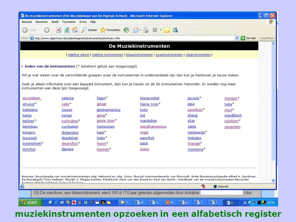 muziekinstrumenten opzoeken in een alfabetisch register