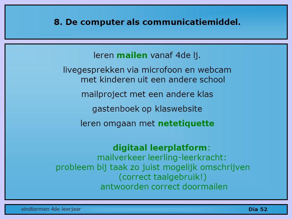 8.De computer als communicatiemiddel. Dia 52 leren mailen vanaf 4de lj.