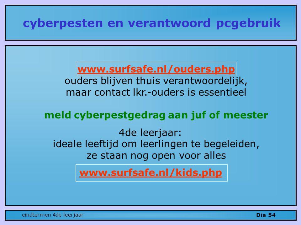 www.surfsafe.nl/ouders.php ouders blijven thuis verantwoordelijk, maar contact lkr.-ouders is essentieel meld cyberpestgedrag aan juf of meester 4de leerjaar: ideale leeftijd om leerlingen te begeleiden, ze staan nog open voor alles www.surfsafe.nl/kids.php cyberpesten en verantwoord pcgebruik Dia 54 eindtermen 4de leerjaar