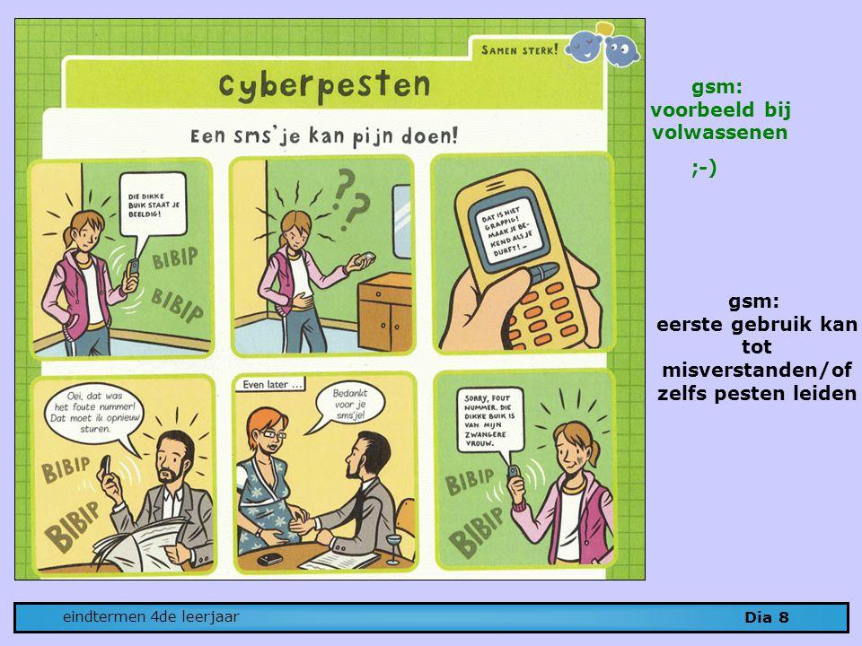 Dia 8 eindtermen 4de leerjaar gsm: eerste gebruik kan tot misverstanden/of zelfs pesten leiden gsm: voorbeeld bij volwassenen ;-)