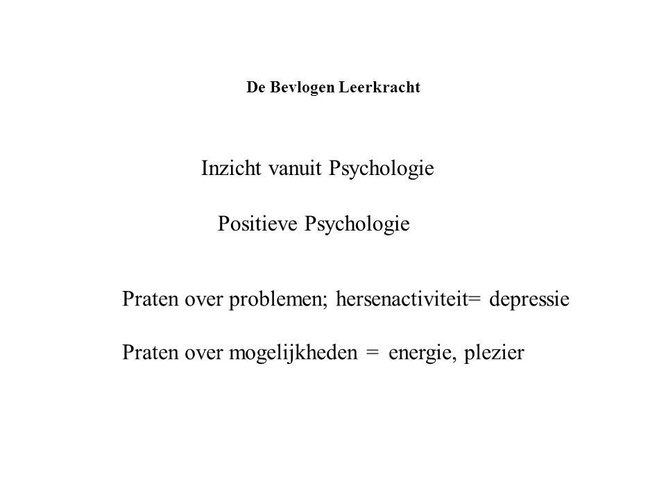 De Bevlogen Leerkracht Inzicht vanuit Psychologie Positieve Psychologie Praten over problemen; hersenactiviteit= depressie Praten over mogelijkheden =