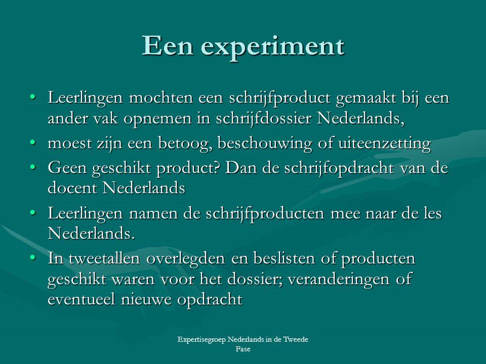 Expertisegroep Nederlands in de Tweede Fase Een experiment •Leerlingen mochten een schrijfproduct gemaakt bij een ander vak opnemen in schrijfdossier Nederlands, •moest zijn een betoog, beschouwing of uiteenzetting •Geen geschikt product.