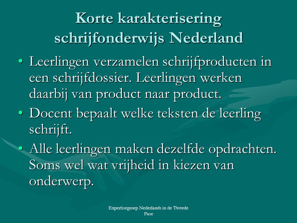 Expertisegroep Nederlands in de Tweede Fase Korte karakterisering schrijfonderwijs Nederland •Leerlingen verzamelen schrijfproducten in een schrijfdossier.
