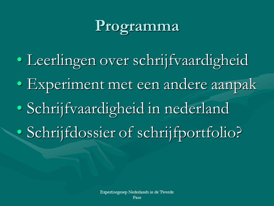 Expertisegroep Nederlands in de Tweede Fase Programma •Leerlingen over schrijfvaardigheid •Experiment met een andere aanpak •Schrijfvaardigheid in nederland •Schrijfdossier of schrijfportfolio?