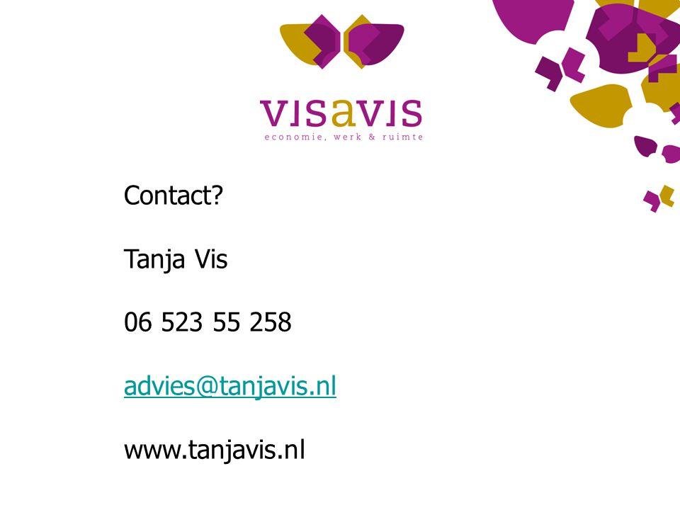 Contact Tanja Vis 06 523 55 258 advies@tanjavis.nl www.tanjavis.nl