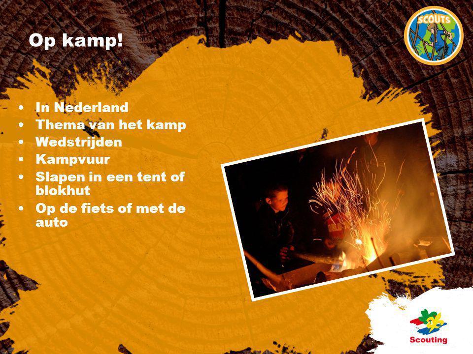 Op kamp! •In Nederland •Thema van het kamp •Wedstrijden •Kampvuur •Slapen in een tent of blokhut •Op de fiets of met de auto