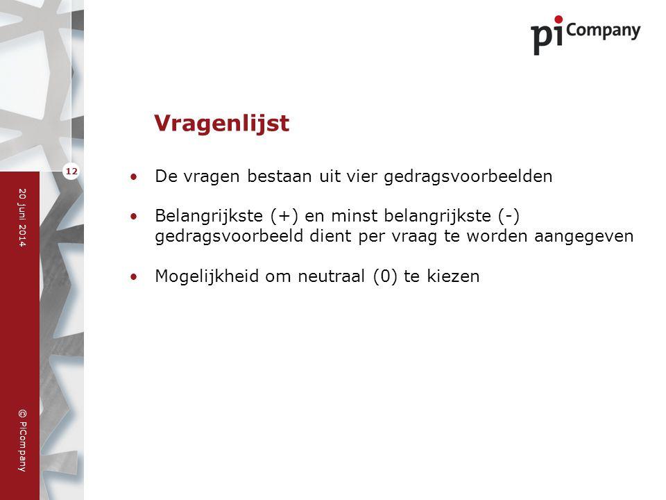 © PiCompany 20 juni 2014 12 Vragenlijst •De vragen bestaan uit vier gedragsvoorbeelden •Belangrijkste (+) en minst belangrijkste (-) gedragsvoorbeeld