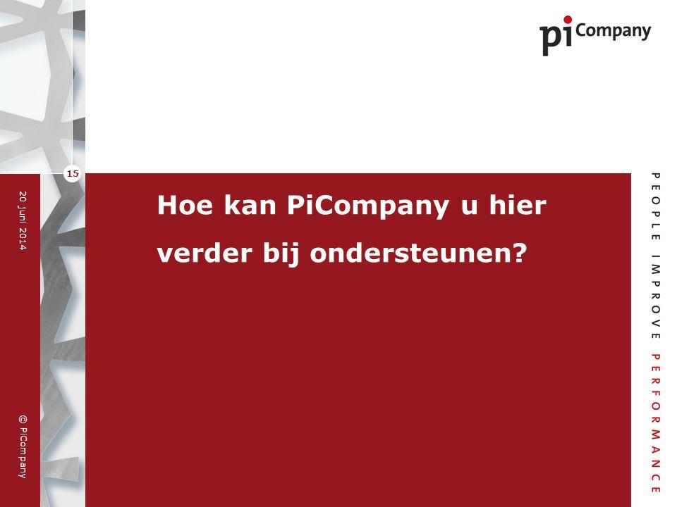© PiCompany 20 juni 2014 15 Hoe kan PiCompany u hier verder bij ondersteunen?