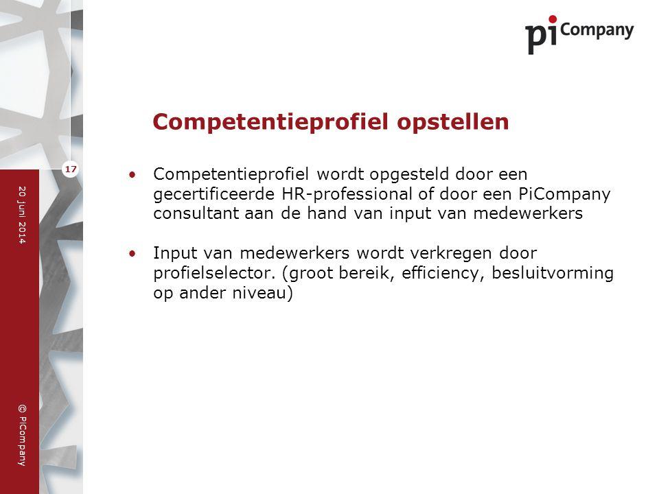 © PiCompany 20 juni 2014 17 Competentieprofiel opstellen •Competentieprofiel wordt opgesteld door een gecertificeerde HR-professional of door een PiCo