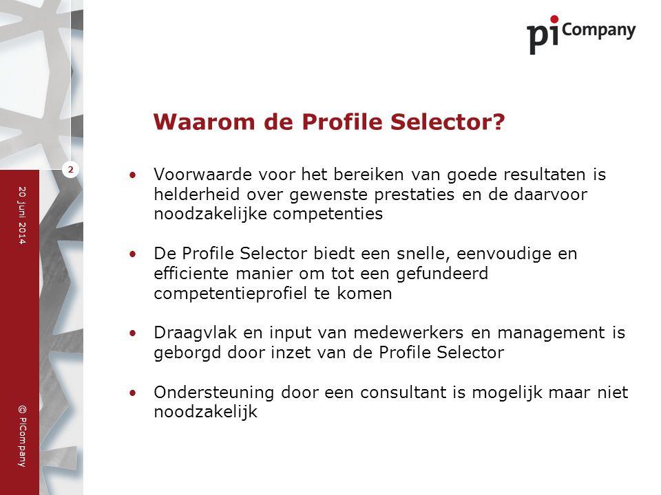 © PiCompany 20 juni 2014 2 Waarom de Profile Selector? •Voorwaarde voor het bereiken van goede resultaten is helderheid over gewenste prestaties en de