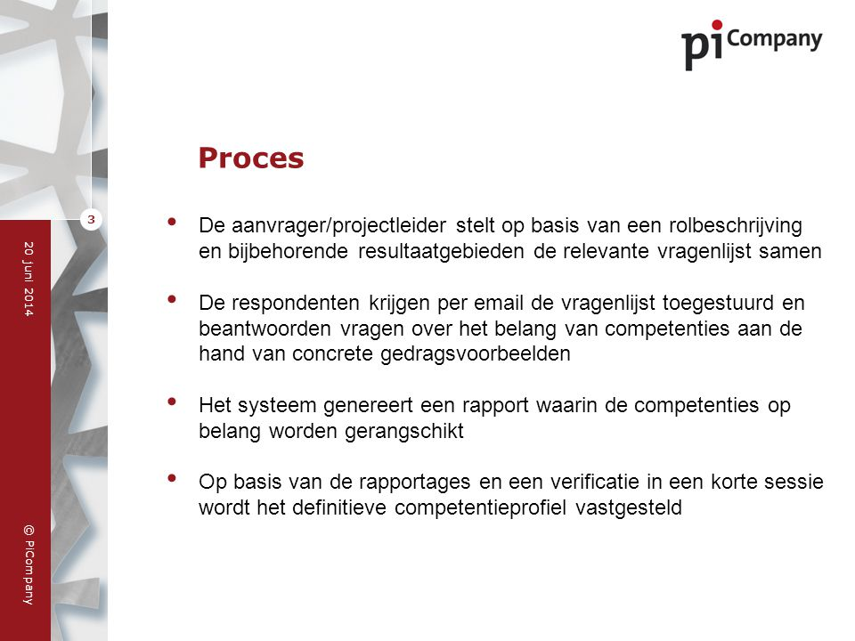 © PiCompany 20 juni 2014 3 Proces • De aanvrager/projectleider stelt op basis van een rolbeschrijving en bijbehorende resultaatgebieden de relevante v