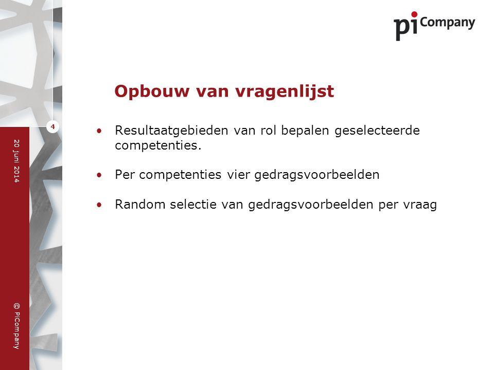 © PiCompany 20 juni 2014 4 Opbouw van vragenlijst •Resultaatgebieden van rol bepalen geselecteerde competenties. •Per competenties vier gedragsvoorbee