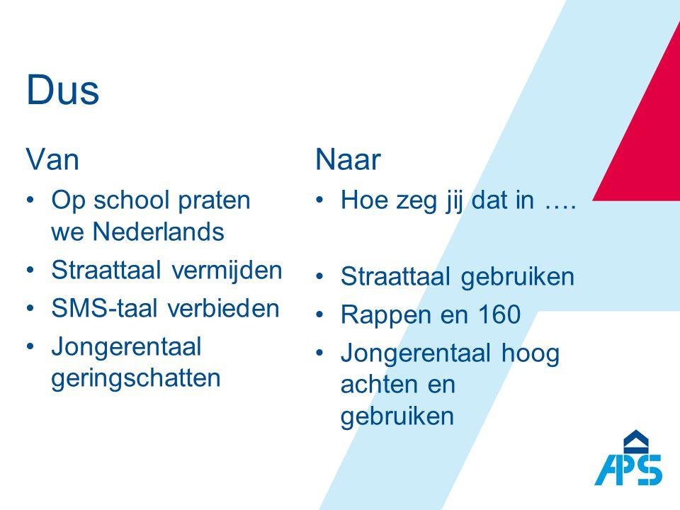 Dus Van •Op school praten we Nederlands •Straattaal vermijden •SMS-taal verbieden •Jongerentaal geringschatten Naar •Hoe zeg jij dat in …. •Straattaal