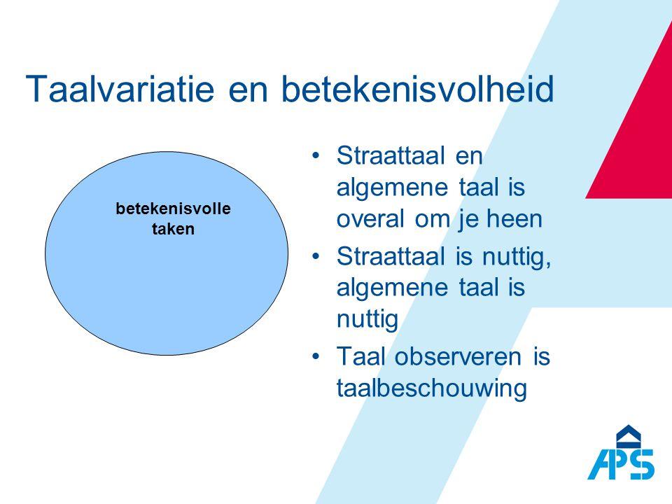 betekenisvolle taken Taalvariatie en betekenisvolheid •Straattaal en algemene taal is overal om je heen •Straattaal is nuttig, algemene taal is nuttig