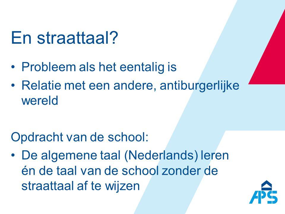 En straattaal? •Probleem als het eentalig is •Relatie met een andere, antiburgerlijke wereld Opdracht van de school: •De algemene taal (Nederlands) le