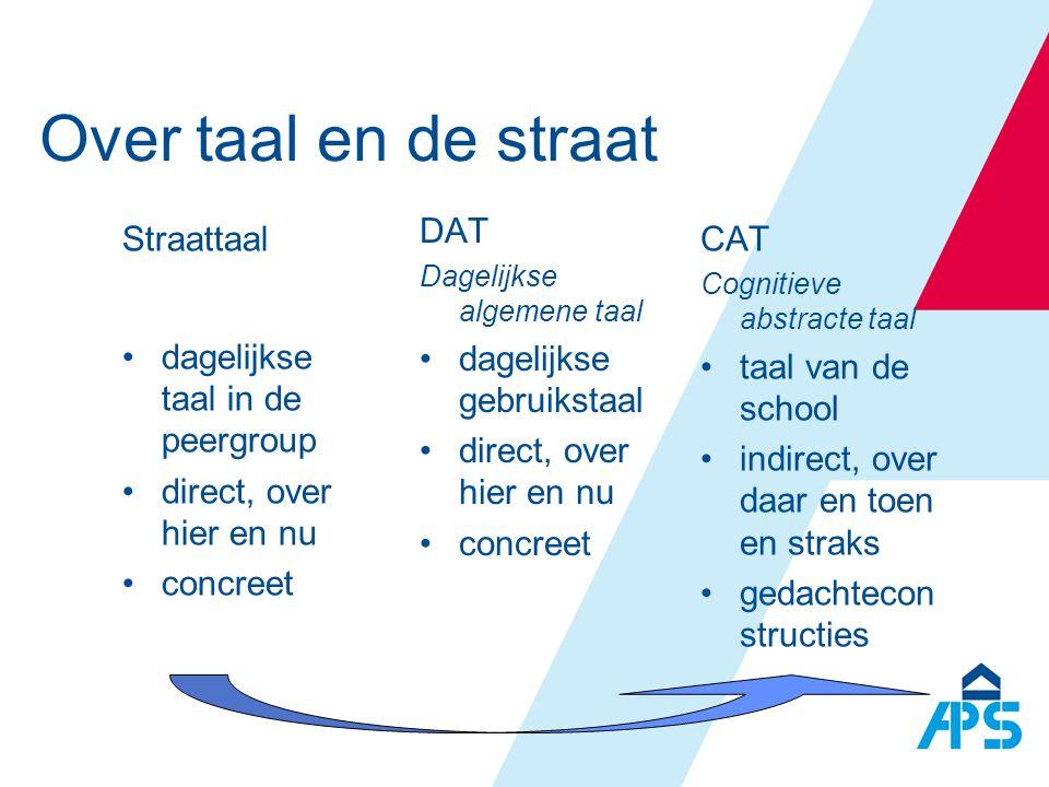 Over taal en de straat DAT Dagelijkse algemene taal •dagelijkse gebruikstaal •direct, over hier en nu •concreet CAT Cognitieve abstracte taal •taal va